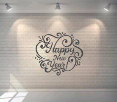 Laser Cut Happy New Year Lettering Wall Art Free CDR Vectors Art