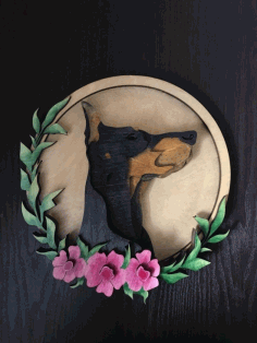 Laser Cut Wall Art Dobermann Layered Art Free CDR Vectors Art