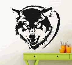 Laser Cut Wolf Head Wall Decor Free CDR Vectors Art