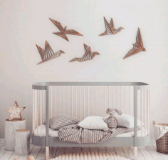 Laser Cut Wooden Birds Wall Decor Modern Wall Art Free CDR Vectors Art