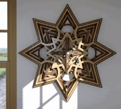 Laser Cut Wooden Star Layered Wall Art Free CDR Vectors Art