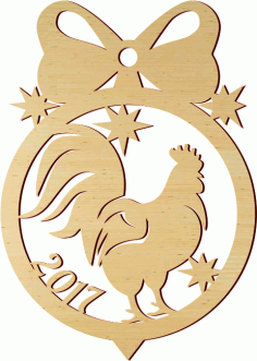 Laser Cut Christmas Decoration Template Rooster Free CDR Vectors Art