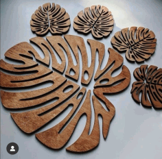Laser Cut Cheese Plant Leaf Coasters Wooden Monstera Coaster Free CDR Vectors Art