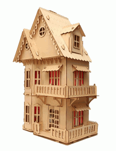 Laser Cut Wooden Dollhouse 3mm Free CDR Vectors Art