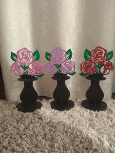 Laser Cut Flower Vase Napkin Holder Free CDR Vectors Art