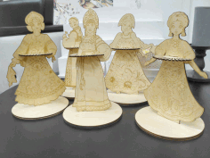 Laser Cut Napkin Holder Slavs Traditional Costume Girls Russian Sarafan Free CDR Vectors Art