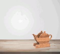 Laser Cut Teapot Napkin Holder Free CDR Vectors Art