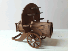 Laser Cut Cannon Mini Bar Plywood Bottle And Glass Holder Free CDR Vectors Art