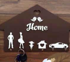 Laser Cut Home Shaped Wooden Key Holder Personalized Key Hanger Free CDR Vectors Art