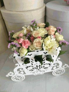 Laser Cut Carriage Flower Stand Free CDR Vectors Art