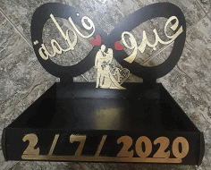 Laser Cut Personalised Name Couples Stand Wedding Decor Free CDR Vectors Art