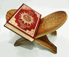 Laser Cut Quran Holder Book Stand Rihal Rehal Wooden Cnc Router Carved Free DXF File