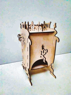 Laser Cut Samovar Shaped Tea House Tea Bag Dispenser Box Free DXF File