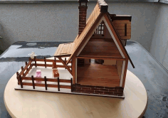 Wooden Village House Free DXF File