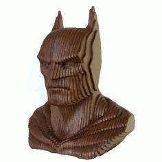 Laser Cut Batman Head Sculpture Wooden Art Free DXF File