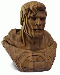 Laser Cut Superman Head Sculpture Layered Wooden Art Free DXF File