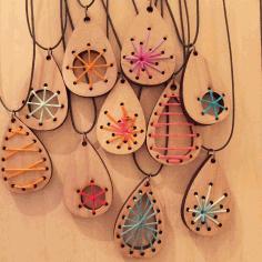 Laser Cut Wood Craft Jewelry Pendants Earrings Free DXF File