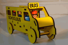 Laser Cut Wooden School Bus Toy Free DXF File