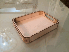 Laser Cut Wooden Tray With Handles Free DXF File