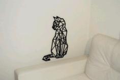 Cat Polygon Art Wall Decor 3d Sculpture Art Free DXF File