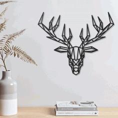Laser Cut Deer Geometric Polygonal Modern Decor Animal Wall Art Free DXF File