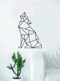 Laser Cut Geometric Wolf Howling Animal Wall Decor Art Free DXF File