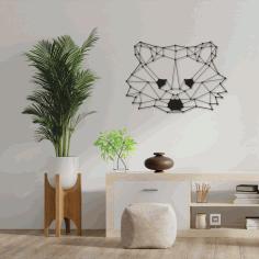 Laser Cut Polygon Raccoon Wall Art Free DXF File