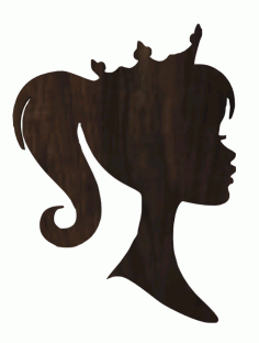 Laser Cut Barbie Head With Crown Princess Plywood Decoration Free CDR Vectors Art