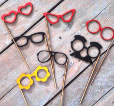 Laser Cut Cute Glasses On A Stick Photo Booth Props Free DXF File