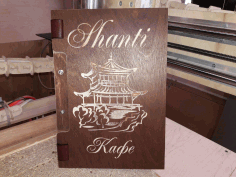Laser Cut Engraved Leather Menu Cover Free DXF File