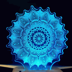 Laser Cut Star Mandala 3d Illusion Lamp 3d Night Light Free DXF File