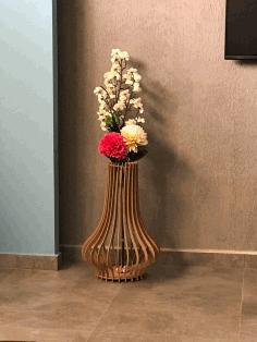 Laser Cut Vase Flower Stand Free DXF File
