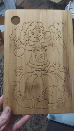 Cnc Router Food Cutting Board Design Girl With Vegetables Free DXF File