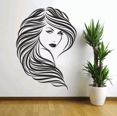 Laser Cut Lady Girl Woman Beauty Saloon Wall Art Free DXF File