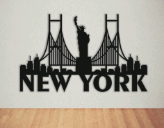 Laser Cut New York Wall Art Free DXF File