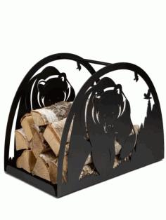 Bear Firewood Stand Log Holder Laser Plasma Cut Free DXF File