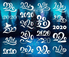 Hand Written Lettering Calligraphy Number 2020 Free DXF File