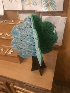 Laser Cut Decorative Tree Model Free DXF File