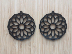 Laser Cut Earrings Acrylic Flower Design Free DXF File