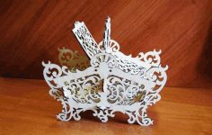 Laser Cut Decorative Candy Basket Free DXF File
