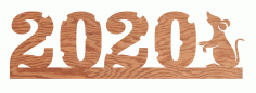 Laser Cut New Year Number 2020 Template Free DXF File