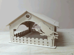 Laser Cut Wooden Bird House Bird Feeder Free DXF File