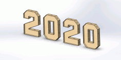 Laser Cut New Year 2020 Free DXF File