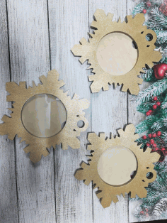 Laser Cut Snowflake Shaped Photo Frame Free DXF File