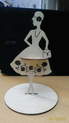 Modern Lady Napkin Holder Free DXF File