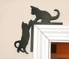 Laser Cut Door Frame Cat Design Free CDR Vectors Art