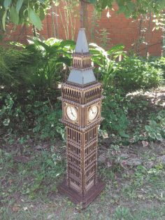 Laser Cut London Big Ben 3d Wood Model Free CDR Vectors Art