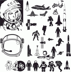 Laser Cut Sketch Of Astronaut Free CDR Vectors Art