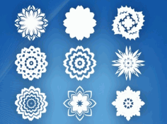 Laser Cut Snow Flower Noel Vector 15 Abstract Flowers Free CDR Vectors Art