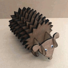 Hedgehog Plywood Coasters With Holder Free DXF File
